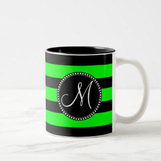 Bright Neon Lime Green and Black Stripes Two-Tone Coffee Mug