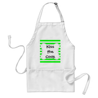 Bright Neon Lime Green and White Stripes Pattern Adult Apron