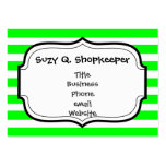 Bright Neon Lime Green and White Stripes Pattern Business Card Templates