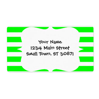 Bright Neon Lime Green and White Stripes Pattern Shipping Label