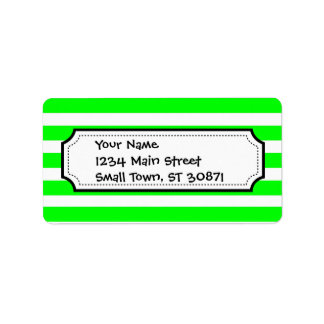 Bright Neon Lime Green and White Stripes Pattern Address Label