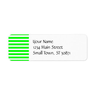 Bright Neon Lime Green and White Stripes Pattern Return Address Label