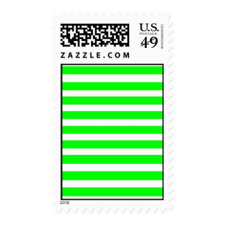 Bright Neon Lime Green and White Stripes Pattern Stamps