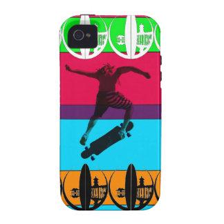 Bright Neon Longboarder iPhone 4/4S Cases