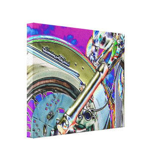 Bright Neon Motorcycle Art Canvas Print