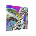 Bright Neon Motorcycle Art Stretched Canvas Prints