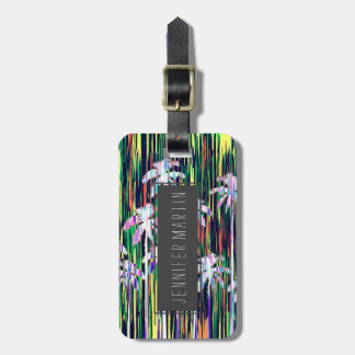 Bright Neon Multi-Colored Palm Trees and Stripes Bag Tag