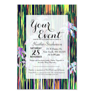 Bright Neon Multi-Colored Palm Trees and Stripes Card
