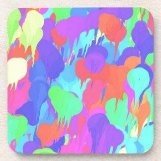 Bright Neon Pastel Paint Splash Beverage Coaster