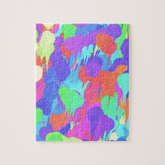 Bright Neon Pastel Paint Splash Jigsaw Puzzle