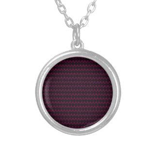 Bright Neon Pink Alien Head Pattern Round Pendant Necklace