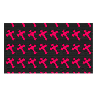 Bright Neon Pink Crosses on a Black fabric Business Cards