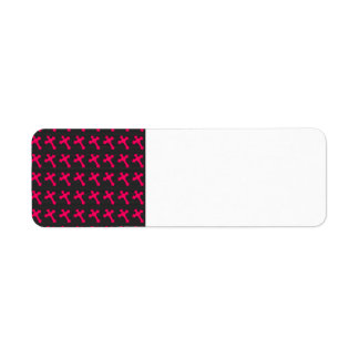 Bright Neon Pink Crosses on a Black fabric Labels