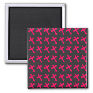 Bright Neon Pink Crosses on a Black fabric Refrigerator Magnets