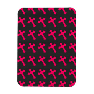 Bright Neon Pink Crosses on a Black fabric Flexible Magnet