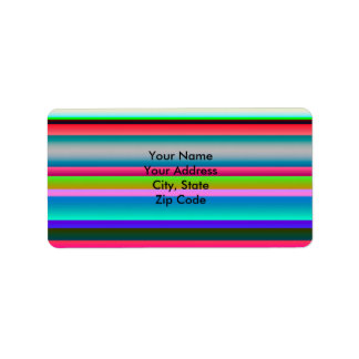 Bright Neon Rainbow Stripes Address Label