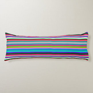 Bright Neon Rainbow Stripes Body Pillow