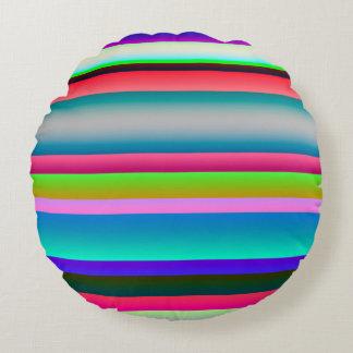Bright Neon Rainbow Stripes Round Pillow