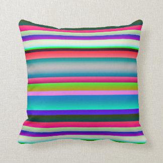 Bright Neon Rainbow Stripes Throw Pillows