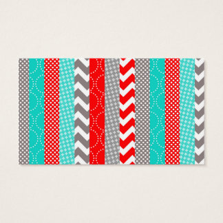 Bright Neon Red and Teal Geo Stripes Business Card
