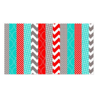 Bright Neon Red and Teal Geo Stripes Double-Sided Standard Business Cards (Pack Of 100)