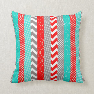 Bright Neon Red and Teal Geo Stripes Pillows