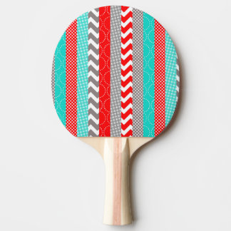 Bright Neon Red and Teal Geo Stripes Ping-Pong Paddle