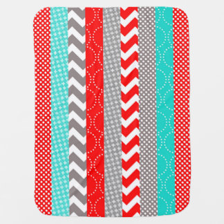 Bright Neon Red and Teal Geo Stripes Swaddle Blanket
