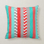 Bright Neon Red and Teal Geo Stripes Throw Pillow