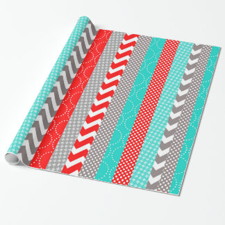 Bright Neon Red and Teal Geo Stripes Wrapping Paper