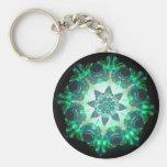 Bright Neon Starburst Kaleidoscope in Green Keychains