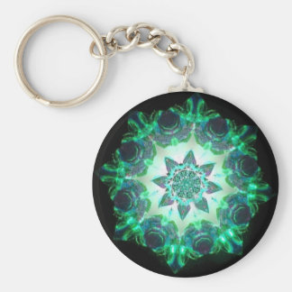 Bright Neon Starburst Kaleidoscope in Green Keychain