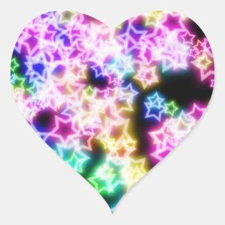 Bright Neon Stars Heart Sticker