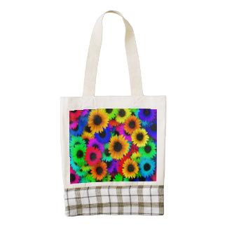 Bright Neon Sunflower Field Zazzle HEART Tote Bag
