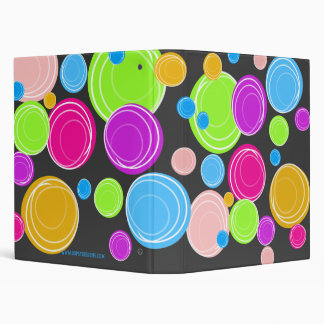 Bright Neon Swirl Circle Patterned Binders