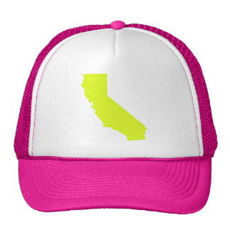 Bright Neon Yellow California Map Design Trucker Hat