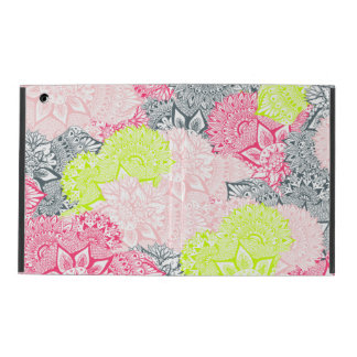 Bright neon yellow henna floral paisley pattern iPad folio cases