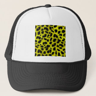 BRIGHT NEON YELLOW LEMON BLACK ANIMAL PRINT PATTER TRUCKER HAT