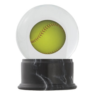 Bright Neon Yellow Softball Snow Globe