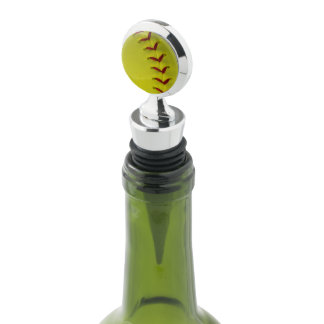 Bright Neon Yellow Softball Wine Stopper