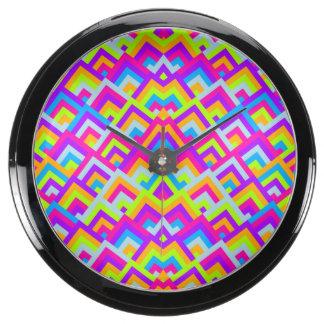 Bright Neons Zigzag Symmetric Peeks Pattern Fish Tank Clock