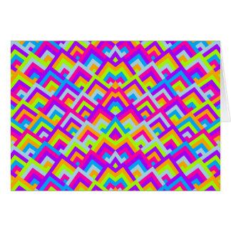 Bright Neons Zigzag Symmetric Peeks Pattern Card
