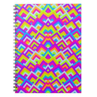 Bright Neons Zigzag Symmetric Peeks Pattern Spiral Notebook
