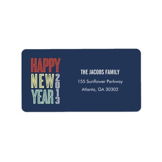 Bright New Year Address Labels