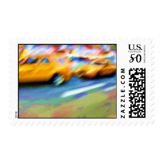 Bright NYC Taxis Postage