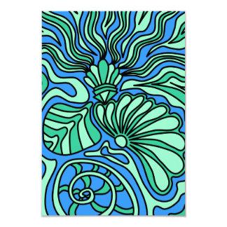 """Bright Ocean Theme Design. 3.5"""" X 5"""" Invitation Card"""