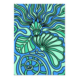 """Bright Ocean Theme Design. 5"""" X 7"""" Invitation Card"""