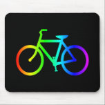 """Bright Ombre Rainbow Bicycle Mouse Pad<br><div class=""""desc"""">Bright colored rainbow gradient on outline of a bicycle.</div>"""