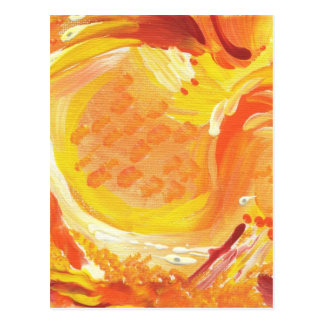 bright orange abstract painting postcard