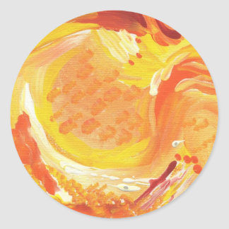bright orange abstract painting classic round sticker
